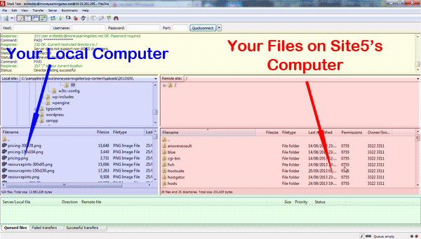 Connection with Filezilla