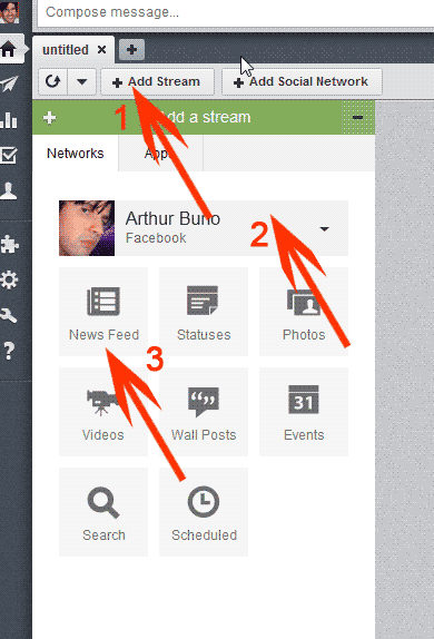 Add streams to Hootsuite tab