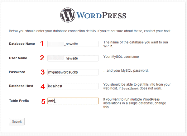 Wordpress Datbase Data